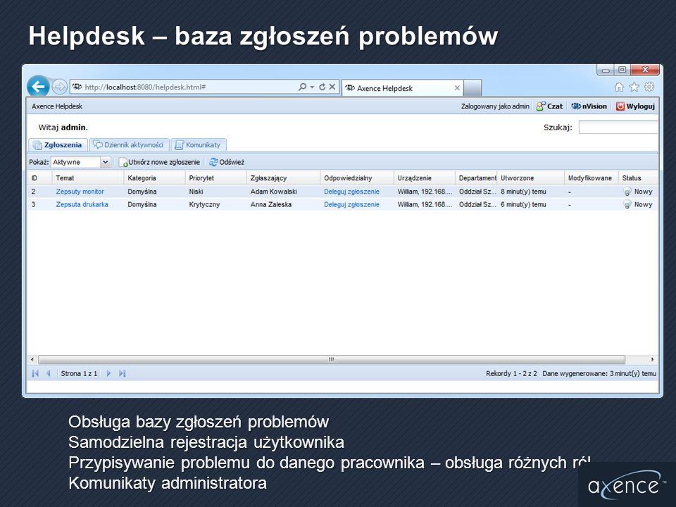 Obsługa bazy zgłoszeń problemów Samodzielna rejestracja użytkownika Przypisywanie problemu do danego pracownika – obsługa różnych ról Komunikaty admin