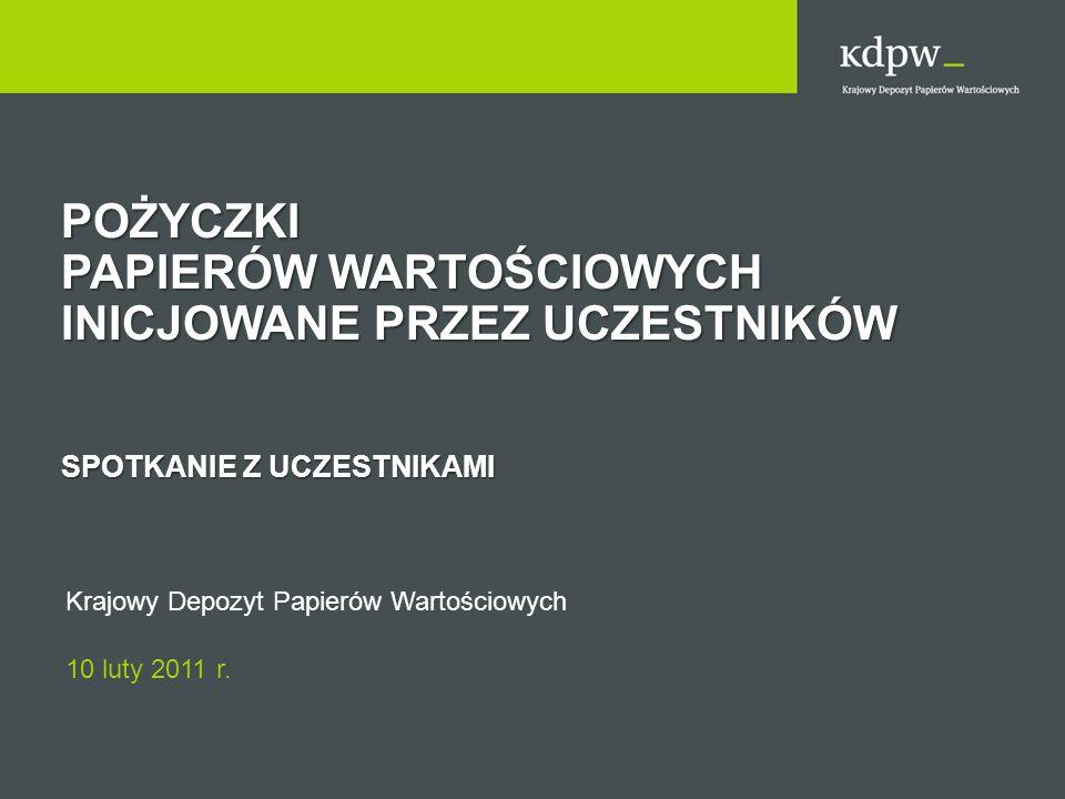 Schemat Systemu Pożyczek PożyczkobiorcaPożyczkodawca Uczestnik Rozliczający Depozytariusz Platforma Ofertowa KDPW - CCP KDPW - CSD