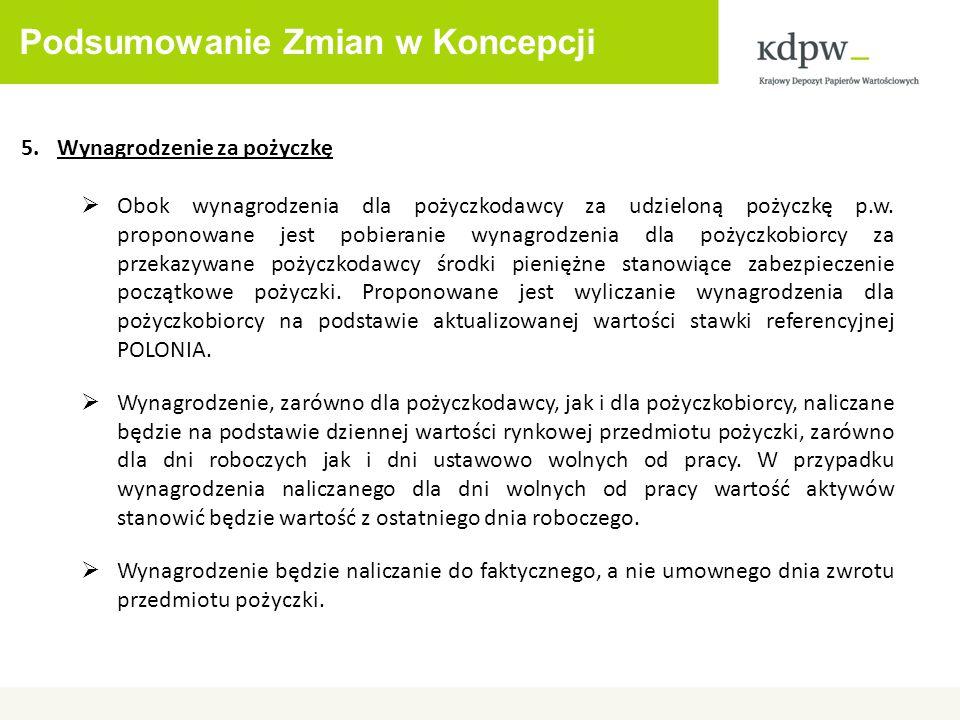 Podsumowanie Zmian w Koncepcji 6.Zabezpieczenie pożyczki KDPW_CCP nie będzie pobierało marginesu powiększającego wartość zabezpieczenia.
