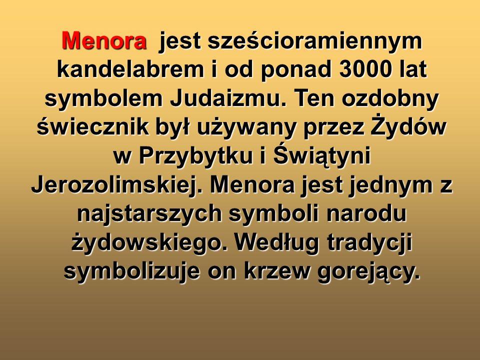 Menora jest sześcioramiennym kandelabrem i od ponad 3000 lat symbolem Judaizmu. Ten ozdobny świecznik był używany przez Żydów w Przybytku i Świątyni J