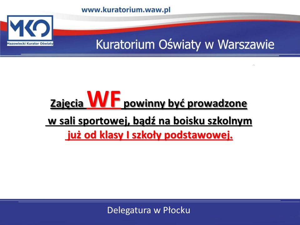 Delegatura w Płocku Zajęcia WF powinny być prowadzone w sali sportowej, bądź na boisku szkolnym już od klasy I szkoły podstawowej.