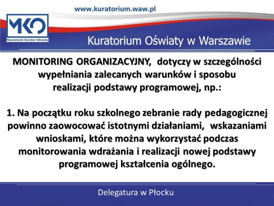 Delegatura w Płocku MONITORING ORGANIZACYJNY, dotyczy w szczególności wypełniania zalecanych warunków i sposobu realizacji podstawy programowej, np.: 1.