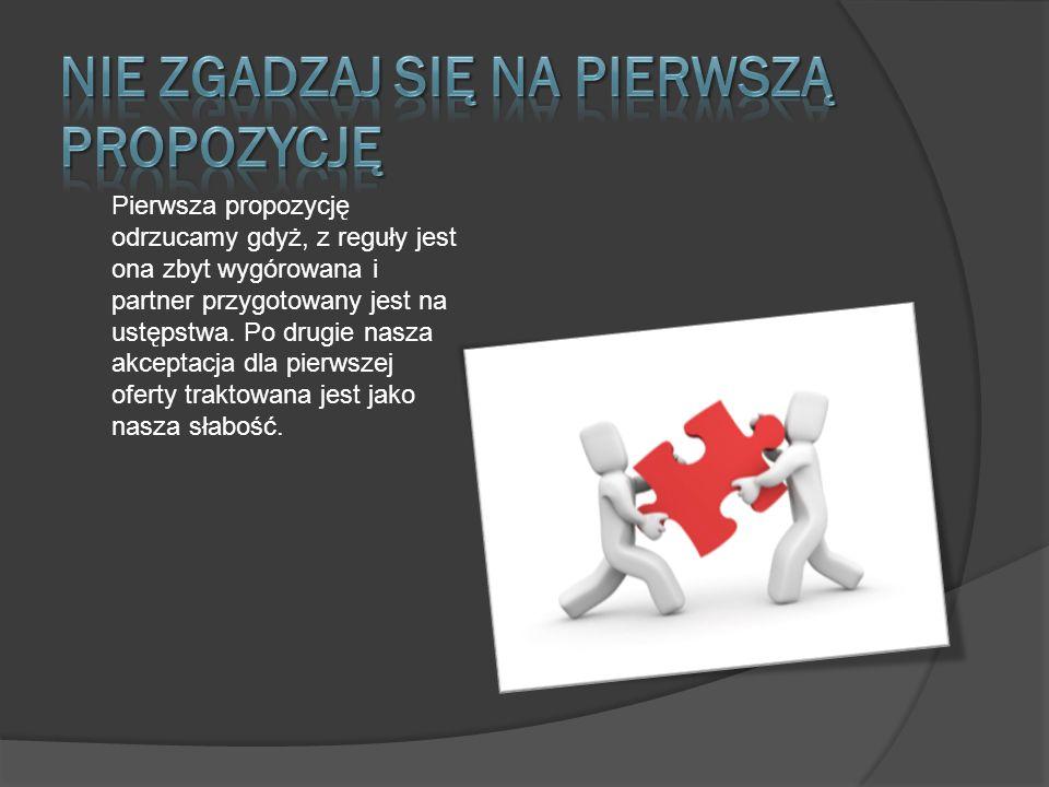 Pierwsza propozycję odrzucamy gdyż, z reguły jest ona zbyt wygórowana i partner przygotowany jest na ustępstwa.