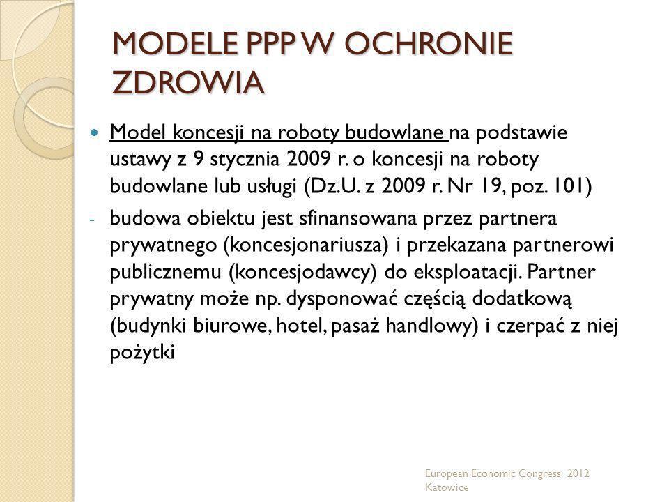 MODELE PPP W OCHRONIE ZDROWIA Model koncesji na roboty budowlane na podstawie ustawy z 9 stycznia 2009 r. o koncesji na roboty budowlane lub usługi (D