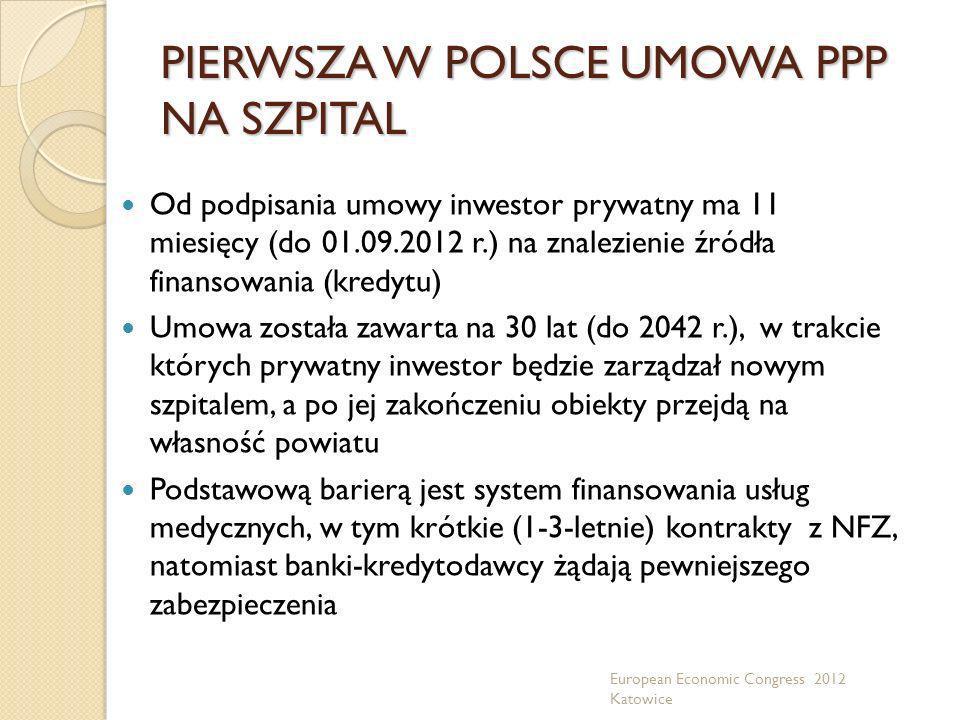 PIERWSZA W POLSCE UMOWA PPP NA SZPITAL Od podpisania umowy inwestor prywatny ma 11 miesięcy (do 01.09.2012 r.) na znalezienie źródła finansowania (kre