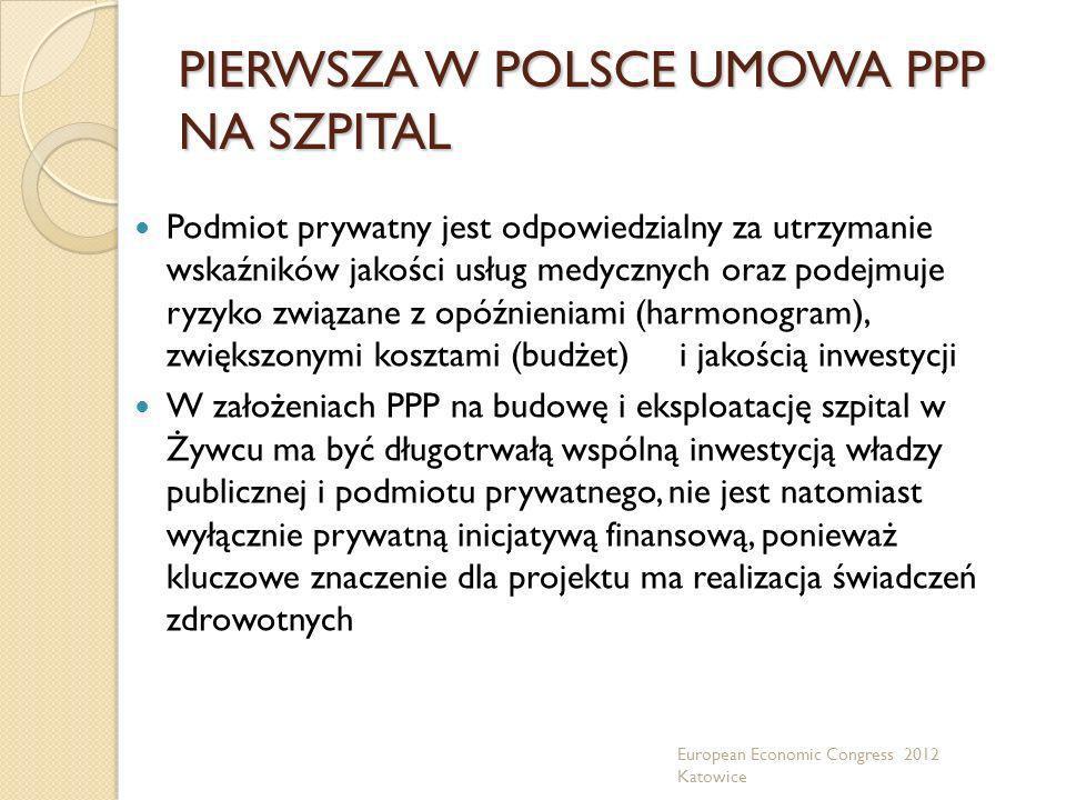 PIERWSZA W POLSCE UMOWA PPP NA SZPITAL Podmiot prywatny jest odpowiedzialny za utrzymanie wskaźników jakości usług medycznych oraz podejmuje ryzyko zw