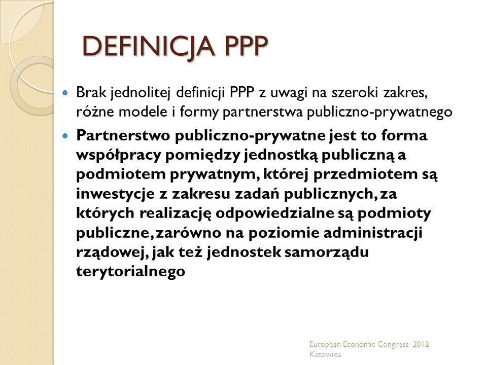 DEFINICJA PPP Brak jednolitej definicji PPP z uwagi na szeroki zakres, różne modele i formy partnerstwa publiczno-prywatnego Partnerstwo publiczno-pry
