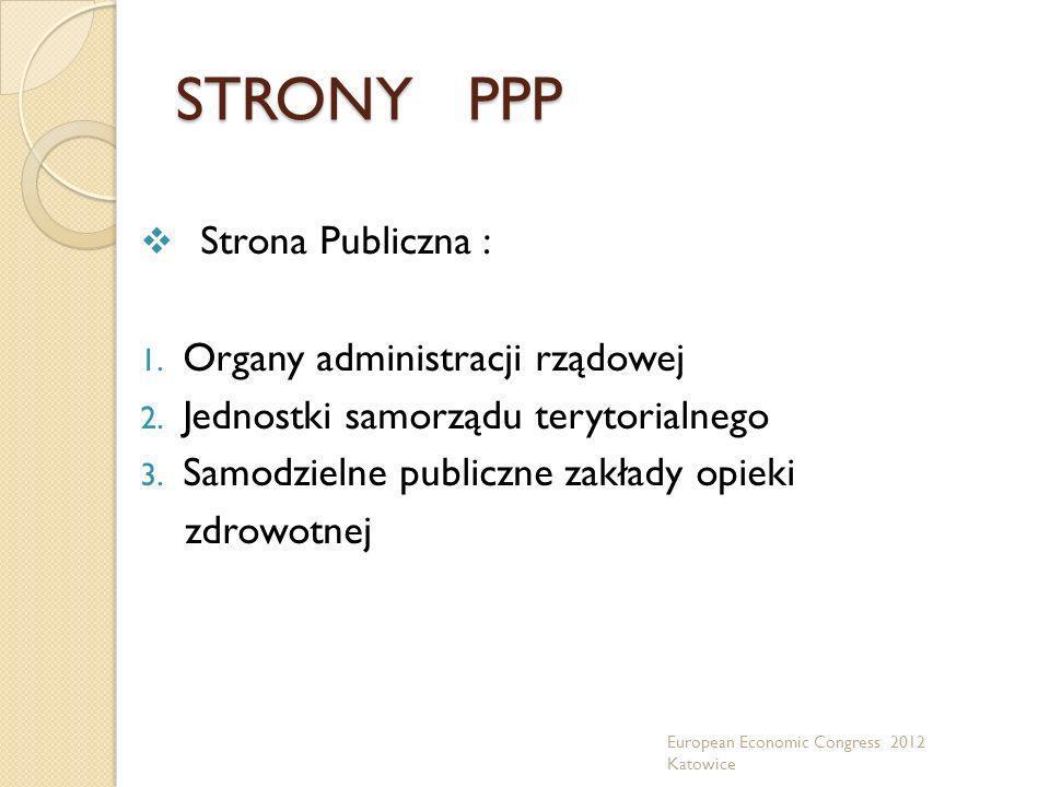 STRONY PPP Strona Publiczna : 1. Organy administracji rządowej 2. Jednostki samorządu terytorialnego 3. Samodzielne publiczne zakłady opieki zdrowotne