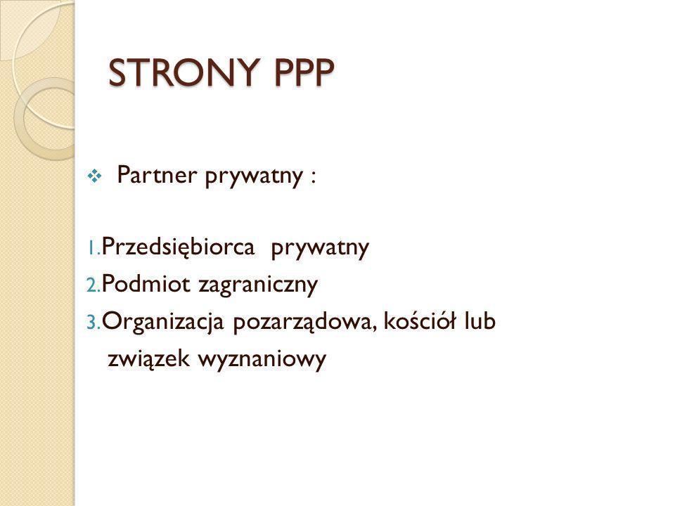 STRONY PPP Partner prywatny : 1. Przedsiębiorca prywatny 2. Podmiot zagraniczny 3. Organizacja pozarządowa, kościół lub związek wyznaniowy