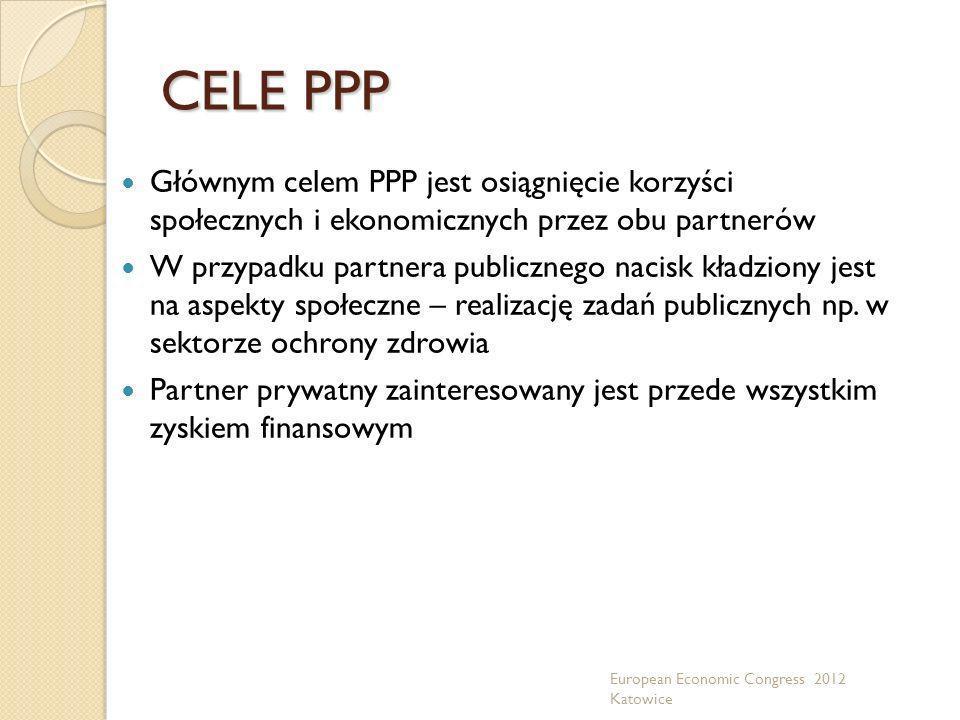 CELE PPP Głównym celem PPP jest osiągnięcie korzyści społecznych i ekonomicznych przez obu partnerów W przypadku partnera publicznego nacisk kładziony