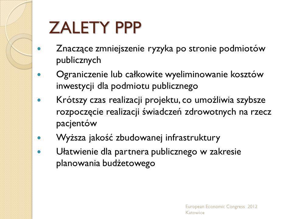 ZALETY PPP Znaczące zmniejszenie ryzyka po stronie podmiotów publicznych Ograniczenie lub całkowite wyeliminowanie kosztów inwestycji dla podmiotu pub