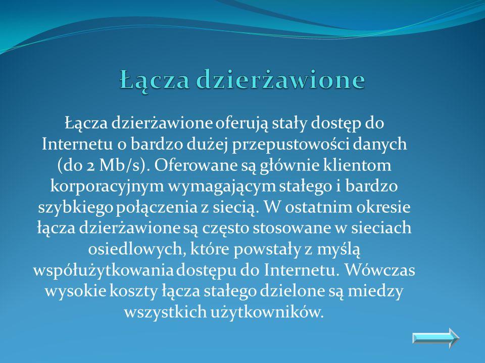 Dostęp do sieci Internet może być również realizowany z wykorzystaniem operatorów telewizyjnych sieci kablowych.