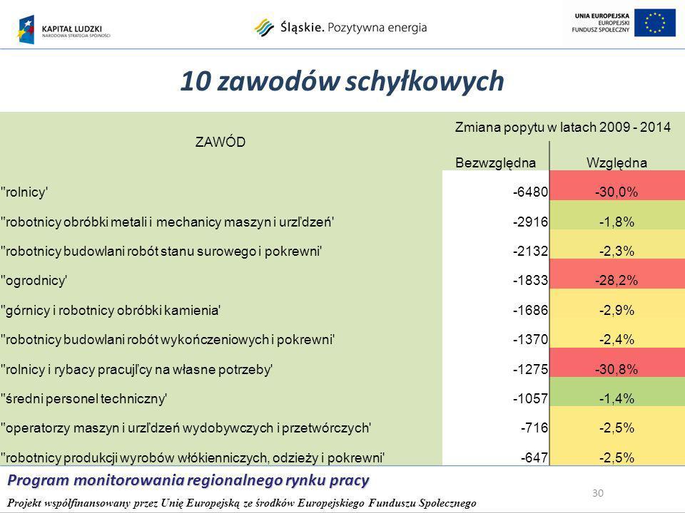 10 zawodów schyłkowych 30 Program monitorowania regionalnego rynku pracy Projekt współfinansowany przez Unię Europejską ze środków Europejskiego Funduszu Społecznego ZAWÓD Zmiana popytu w latach 2009 - 2014 BezwzględnaWzględna rolnicy -6480-30,0% robotnicy obróbki metali i mechanicy maszyn i urzľdzeń -2916-1,8% robotnicy budowlani robót stanu surowego i pokrewni -2132-2,3% ogrodnicy -1833-28,2% górnicy i robotnicy obróbki kamienia -1686-2,9% robotnicy budowlani robót wykończeniowych i pokrewni -1370-2,4% rolnicy i rybacy pracujľcy na własne potrzeby -1275-30,8% średni personel techniczny -1057-1,4% operatorzy maszyn i urzľdzeń wydobywczych i przetwórczych -716-2,5% robotnicy produkcji wyrobów włókienniczych, odzieży i pokrewni -647-2,5%
