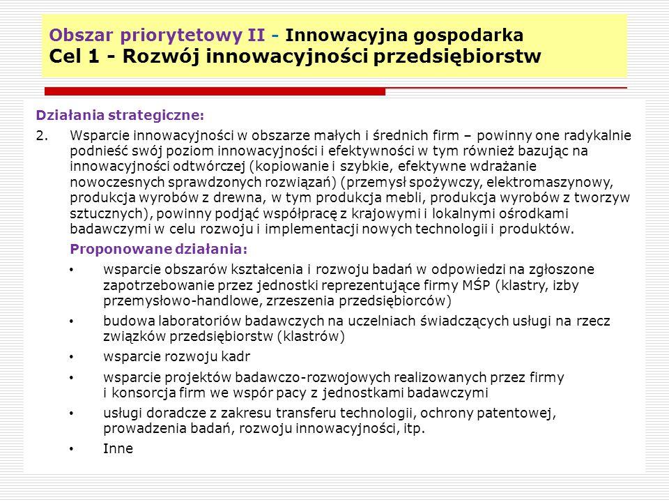 Obszar priorytetowy II - Innowacyjna gospodarka Cel 1 - Rozwój innowacyjności przedsiębiorstw 10 Działania strategiczne: 2.Wsparcie innowacyjności w o