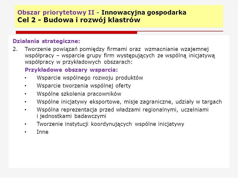Obszar priorytetowy II - Innowacyjna gospodarka Cel 2 - Budowa i rozwój klastrów 13 Działania strategiczne: 2.Tworzenie powiązań pomiędzy firmami oraz