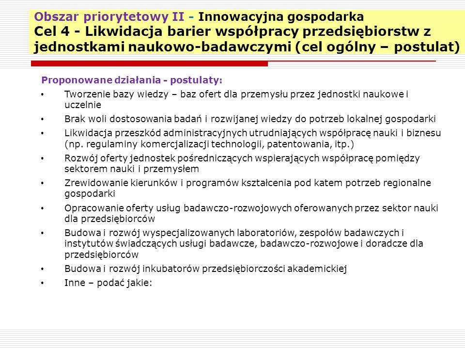 Obszar priorytetowy II - Innowacyjna gospodarka Cel 4 - Likwidacja barier współpracy przedsiębiorstw z jednostkami naukowo-badawczymi (cel ogólny – po