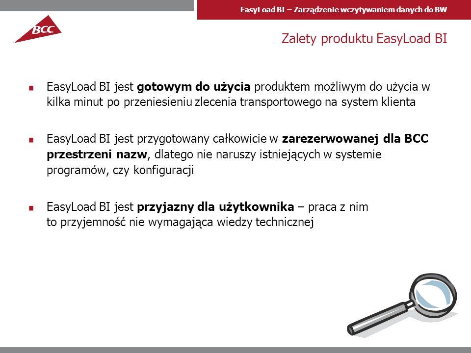 EasyLoad BI – Zarządzenie wczytywaniem danych do BW Zalety produktu EasyLoad BI EasyLoad BI jest gotowym do użycia produktem możliwym do użycia w kilk
