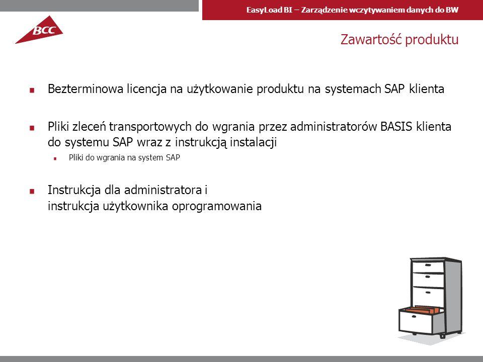 EasyLoad BI – Zarządzenie wczytywaniem danych do BW Zawartość produktu Bezterminowa licencja na użytkowanie produktu na systemach SAP klienta Pliki zl