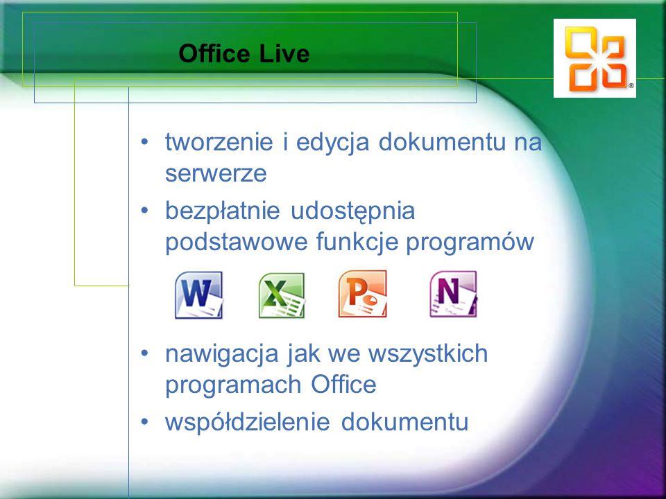 Office Live tworzenie i edycja dokumentu na serwerze bezpłatnie udostępnia podstawowe funkcje programów nawigacja jak we wszystkich programach Office