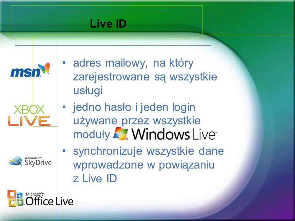 Live ID adres mailowy, na który zarejestrowane są wszystkie usługi jedno hasło i jeden login używane przez wszystkie moduły synchronizuje wszystkie da