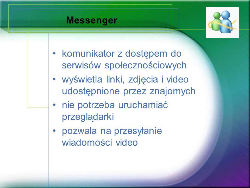 Messenger komunikator z dostępem do serwisów społecznościowych wyświetla linki, zdjęcia i video udostępnione przez znajomych nie potrzeba uruchamiać p