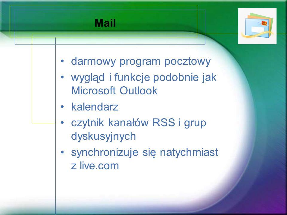 Mail darmowy program pocztowy wygląd i funkcje podobnie jak Microsoft Outlook kalendarz czytnik kanałów RSS i grup dyskusyjnych synchronizuje się naty