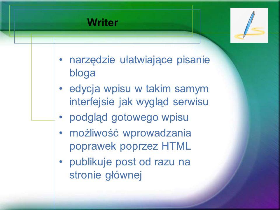 Writer narzędzie ułatwiające pisanie bloga edycja wpisu w takim samym interfejsie jak wygląd serwisu podgląd gotowego wpisu możliwość wprowadzania pop