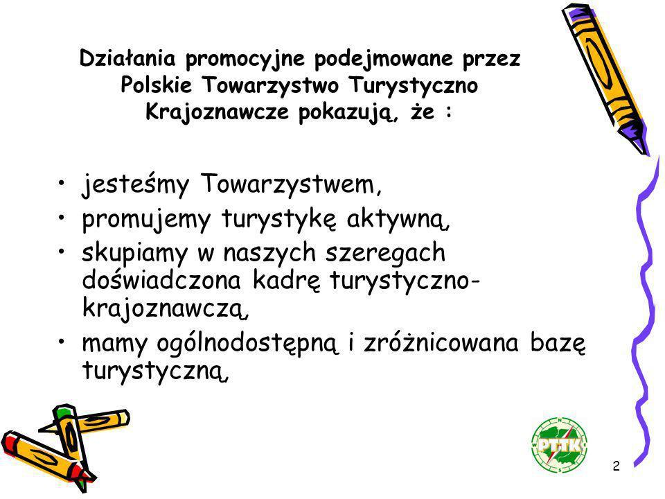 2 Działania promocyjne podejmowane przez Polskie Towarzystwo Turystyczno Krajoznawcze pokazują, że : jesteśmy Towarzystwem, promujemy turystykę aktywn
