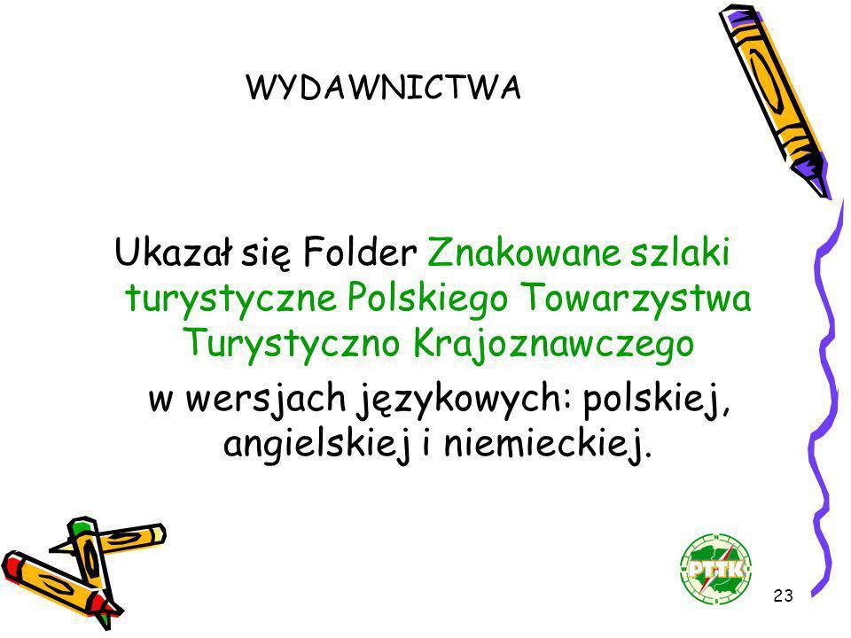 23 WYDAWNICTWA Ukazał się Folder Znakowane szlaki turystyczne Polskiego Towarzystwa Turystyczno Krajoznawczego w wersjach językowych: polskiej, angiel