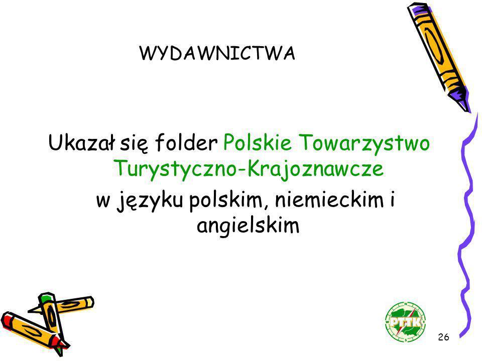 26 WYDAWNICTWA Ukazał się folder Polskie Towarzystwo Turystyczno-Krajoznawcze w języku polskim, niemieckim i angielskim