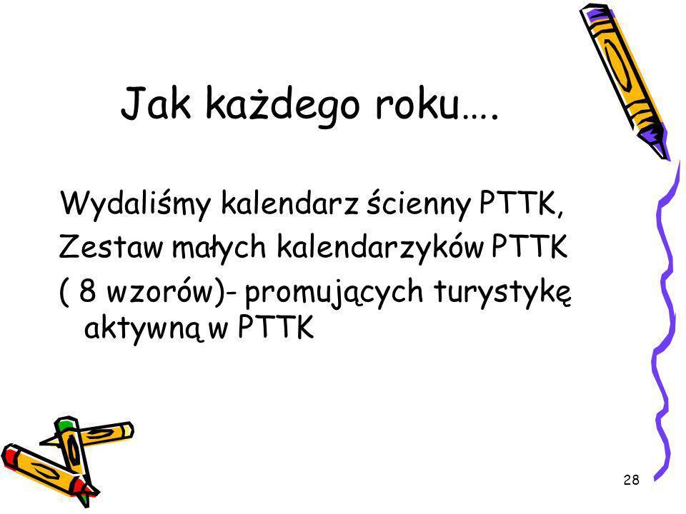 28 Jak każdego roku…. Wydaliśmy kalendarz ścienny PTTK, Zestaw małych kalendarzyków PTTK ( 8 wzorów)- promujących turystykę aktywną w PTTK