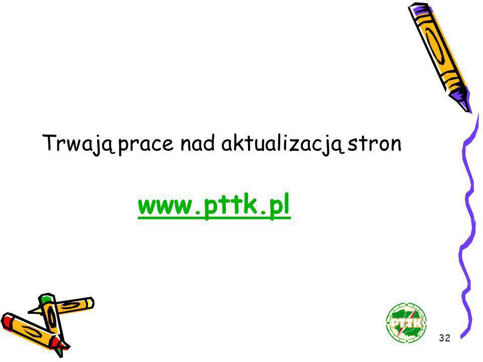 32 Trwają prace nad aktualizacją stron www.pttk.pl