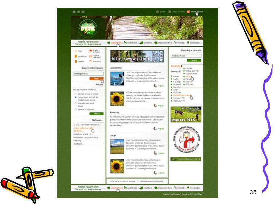 36 Nasza strona www.pttk.pl Pierwsza strona zmieniła nieco swój wygląd: Wprowadziliśmy informacje ; -szlaki PTTK zapraszają, -Obiekty PTTK zapraszają, -Zapraszamy na rajdy, zloty….