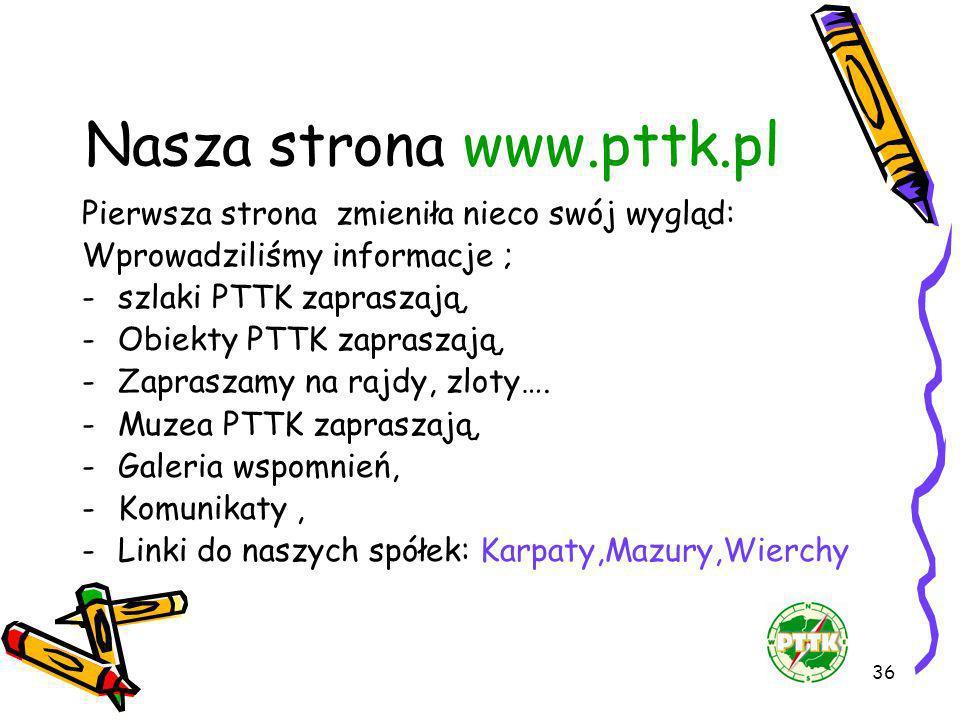 36 Nasza strona www.pttk.pl Pierwsza strona zmieniła nieco swój wygląd: Wprowadziliśmy informacje ; -szlaki PTTK zapraszają, -Obiekty PTTK zapraszają,