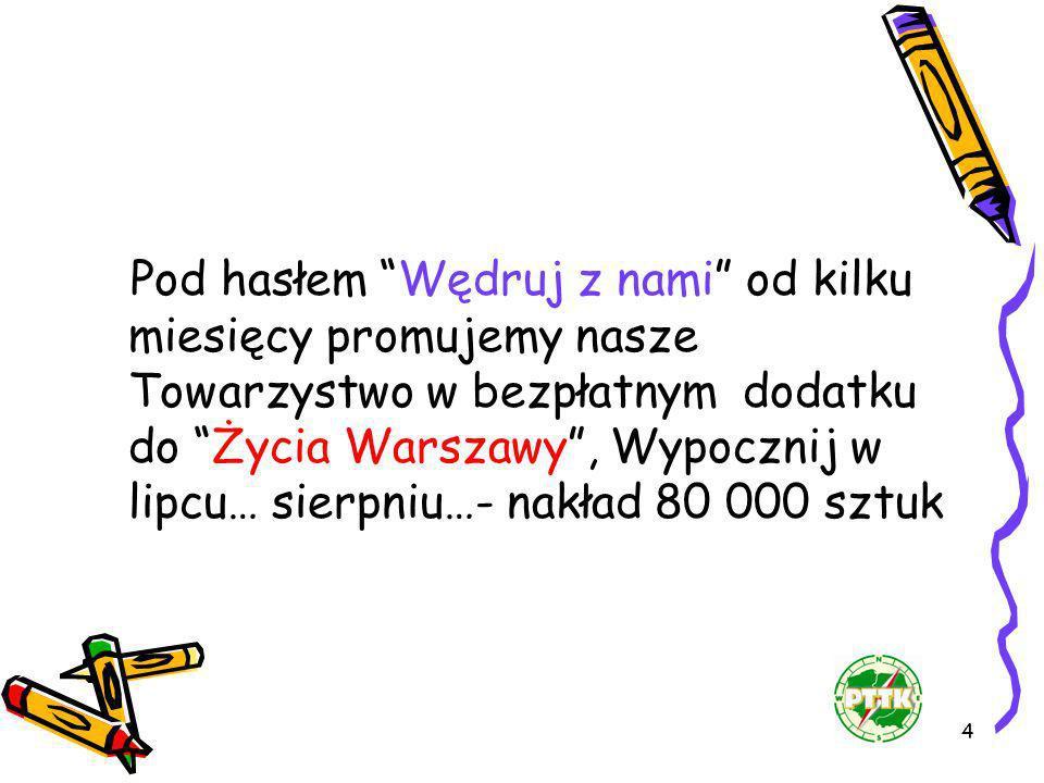 4 Pod hasłem Wędruj z nami od kilku miesięcy promujemy nasze Towarzystwo w bezpłatnym dodatku do Życia Warszawy, Wypocznij w lipcu… sierpniu…- nakład