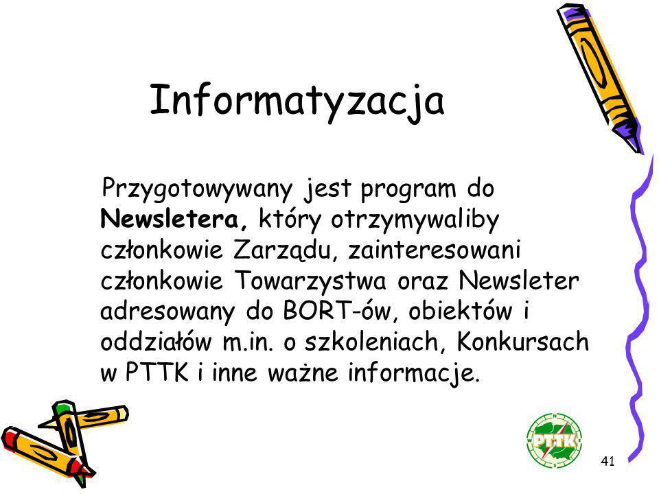 41 Informatyzacja Przygotowywany jest program do Newsletera, który otrzymywaliby członkowie Zarządu, zainteresowani członkowie Towarzystwa oraz Newsle