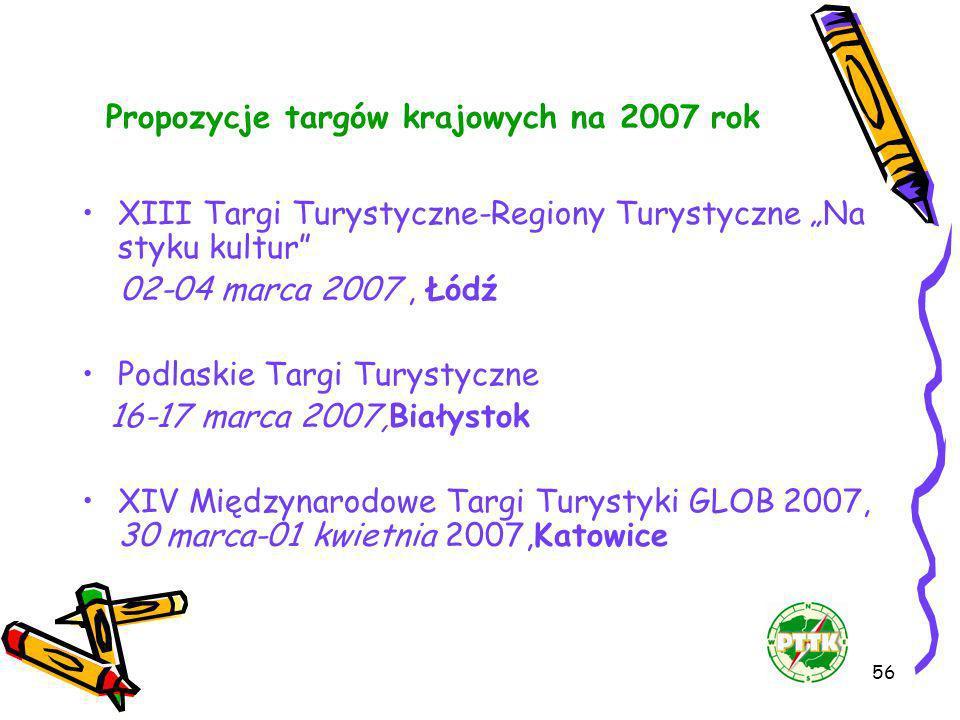 56 Propozycje targów krajowych na 2007 rok XIII Targi Turystyczne-Regiony Turystyczne Na styku kultur 02-04 marca 2007, Łódź Podlaskie Targi Turystycz