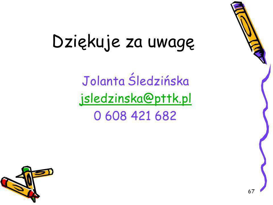 67 Dziękuje za uwagę Jolanta Śledzińska jsledzinska@pttk.pl 0 608 421 682