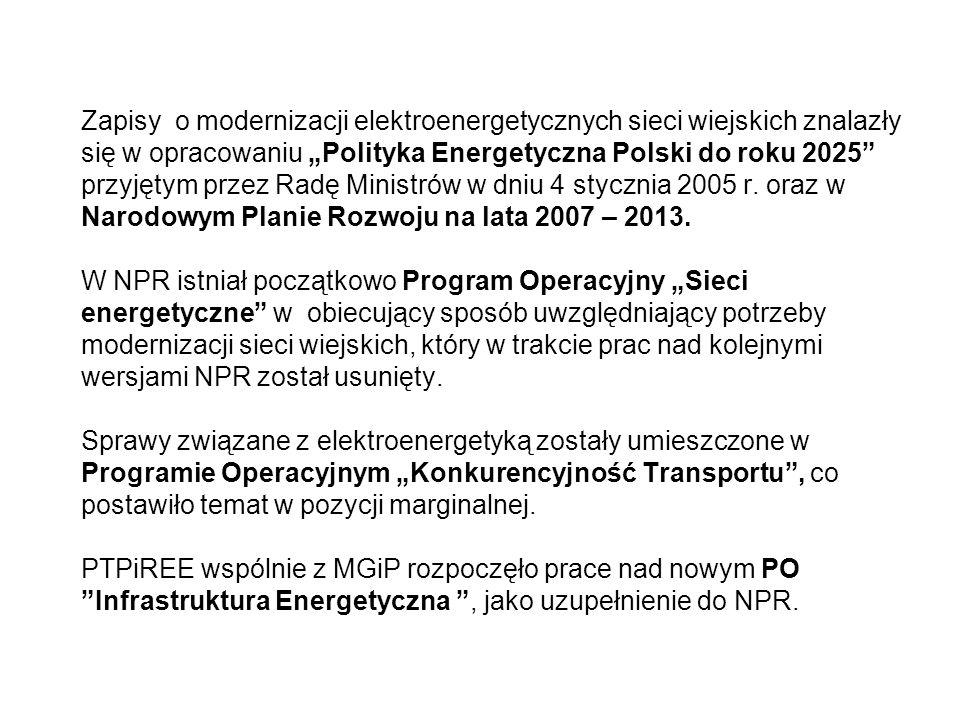 Zapisy o modernizacji elektroenergetycznych sieci wiejskich znalazły się w opracowaniu Polityka Energetyczna Polski do roku 2025 przyjętym przez Radę Ministrów w dniu 4 stycznia 2005 r.