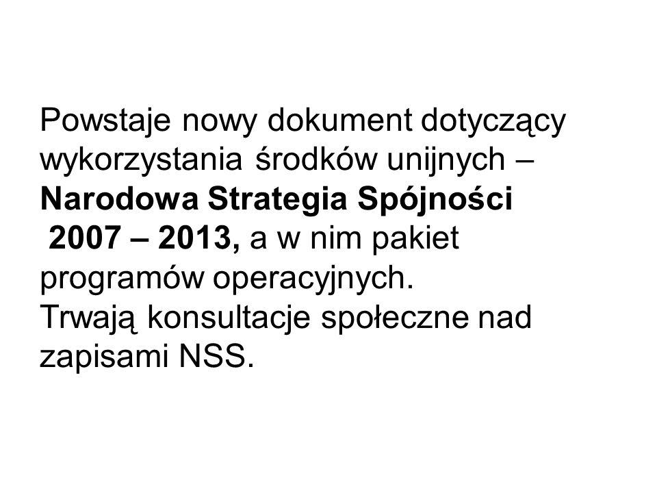 Powstaje nowy dokument dotyczący wykorzystania środków unijnych – Narodowa Strategia Spójności 2007 – 2013, a w nim pakiet programów operacyjnych.