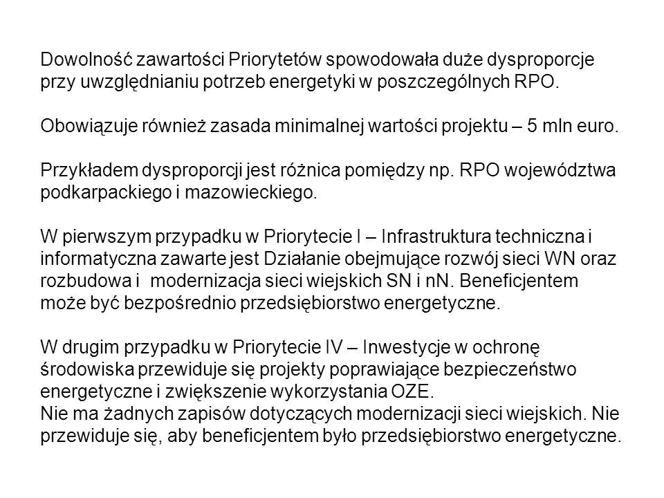 Dowolność zawartości Priorytetów spowodowała duże dysproporcje przy uwzględnianiu potrzeb energetyki w poszczególnych RPO.