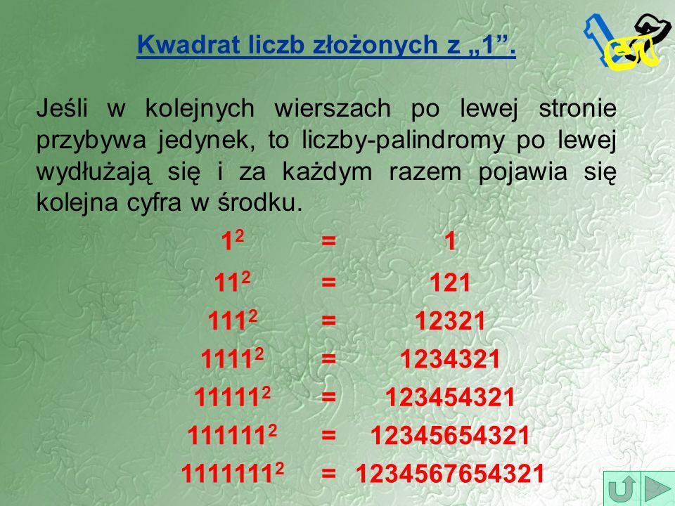 Kwadrat liczb złożonych z 1. Jeśli w kolejnych wierszach po lewej stronie przybywa jedynek, to liczby-palindromy po lewej wydłużają się i za każdym ra