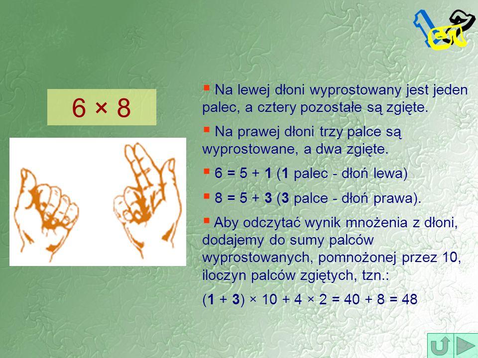 Na lewej dłoni wyprostowany jest jeden palec, a cztery pozostałe są zgięte. Na prawej dłoni trzy palce są wyprostowane, a dwa zgięte. 6 = 5 + 1 (1 pal