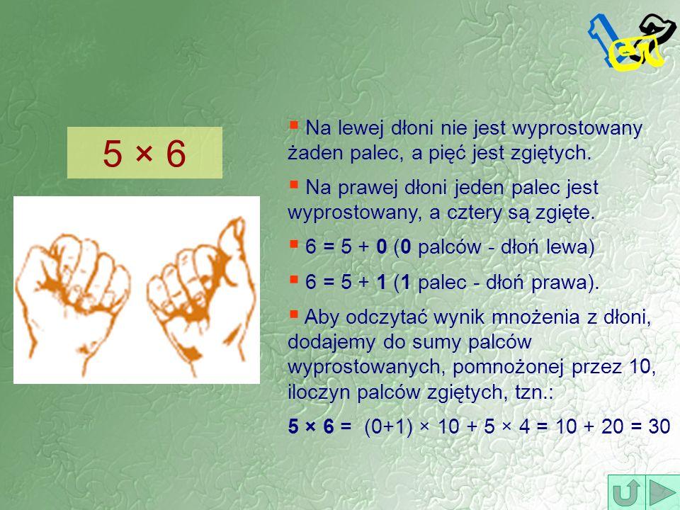 5 × 6 Na lewej dłoni nie jest wyprostowany żaden palec, a pięć jest zgiętych. Na prawej dłoni jeden palec jest wyprostowany, a cztery są zgięte. 6 = 5