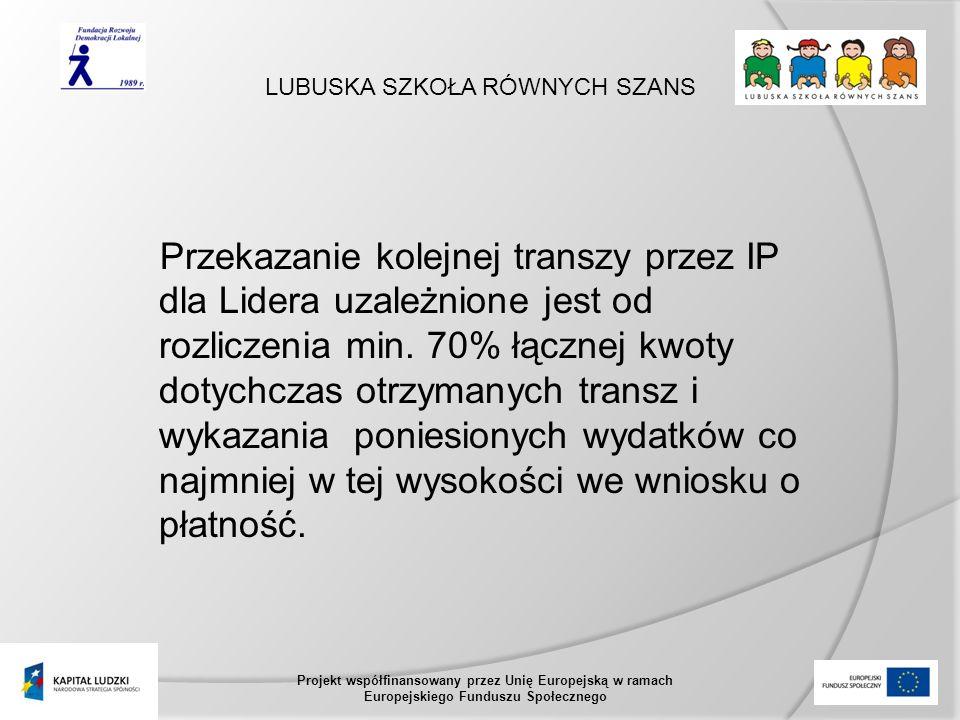 LUBUSKA SZKOŁA RÓWNYCH SZANS Projekt współfinansowany przez Unię Europejską w ramach Europejskiego Funduszu Społecznego Przekazanie kolejnej transzy przez IP dla Lidera uzależnione jest od rozliczenia min.
