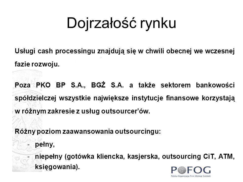 Dojrzałość rynku Usługi cash processingu znajdują się w chwili obecnej we wczesnej fazie rozwoju. Poza PKO BP S.A., BGŻ S.A. a także sektorem bankowoś