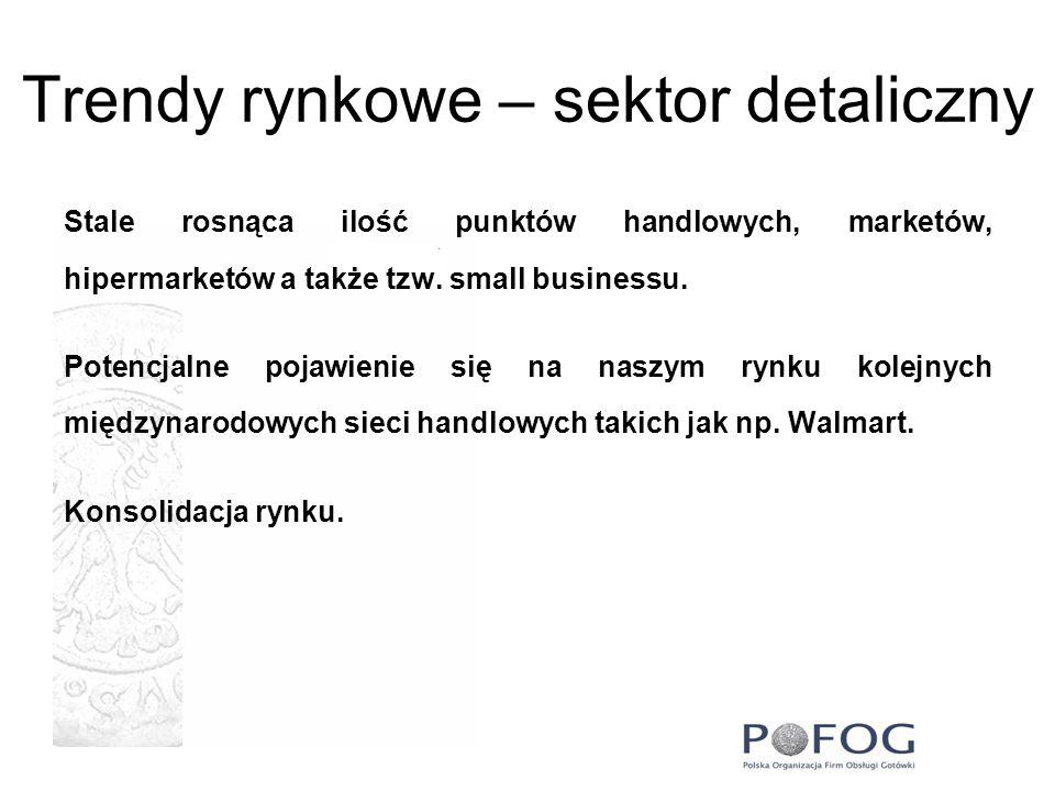 Trendy rynkowe – sektor detaliczny Stale rosnąca ilość punktów handlowych, marketów, hipermarketów a także tzw. small businessu. Potencjalne pojawieni