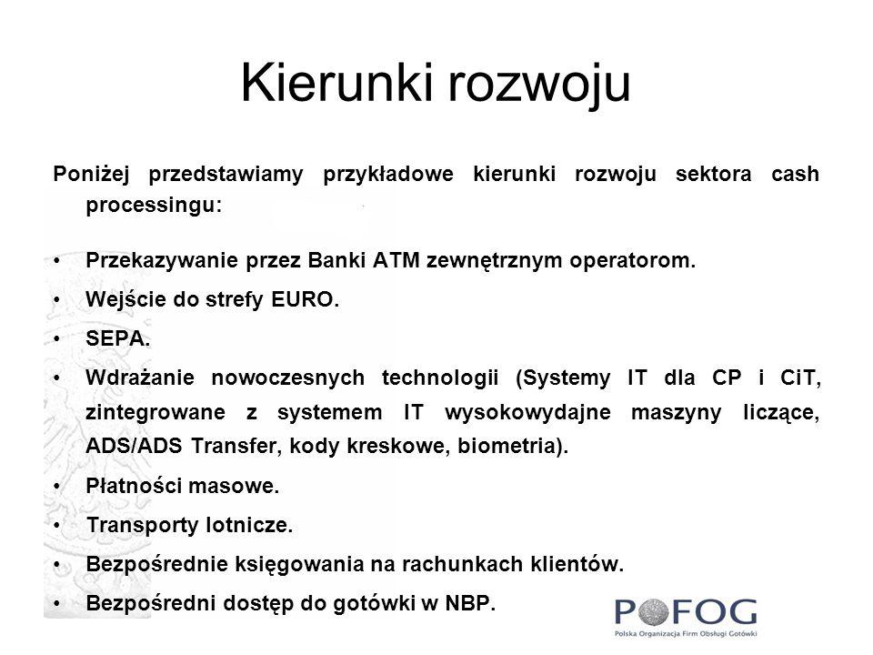 Kierunki rozwoju Poniżej przedstawiamy przykładowe kierunki rozwoju sektora cash processingu: Przekazywanie przez Banki ATM zewnętrznym operatorom. We