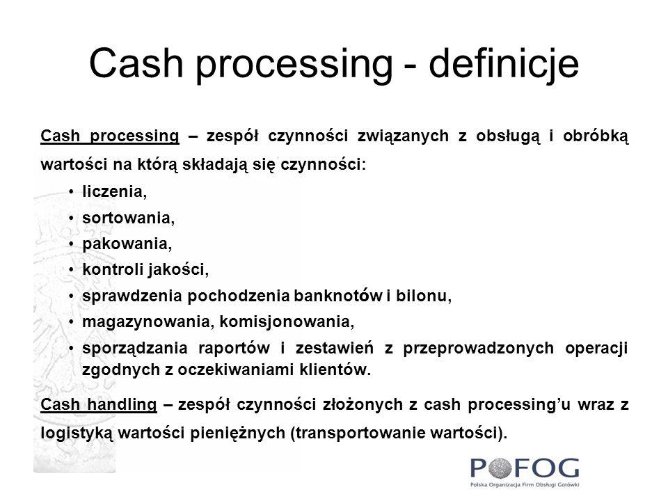 Cash processing - definicje Cash processing – zespół czynności związanych z obsługą i obróbką wartości na którą składają się czynności: liczenia, sort