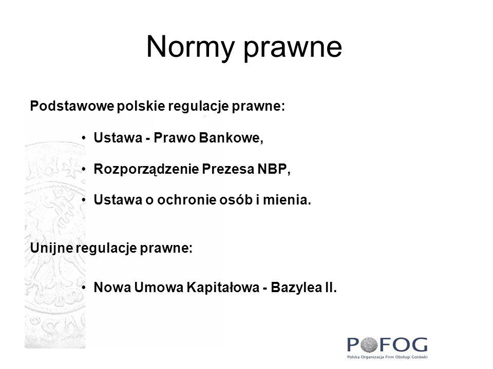 Normy prawne Podstawowe polskie regulacje prawne: Ustawa - Prawo Bankowe, Rozporządzenie Prezesa NBP, Ustawa o ochronie osób i mienia. Unijne regulacj